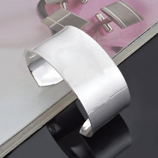 925 Sterling Silver Plated Charm Women Smooth Surface Wide Cuff Bangle Bracelet