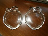 3746) 1 Lot: Vintage Set of 2 Peach Shape Clear Glass Snack/Sauce Dishes
