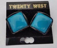 New Old Stock Boho Twenty West Blue Black Square Earrings - Southwest