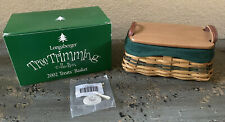 Longaberger 2002 Tree Trimming Treats basket, liner, protector, lid and tie on