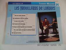 CARTE FICHE PLAISIR DE CHANTER THIERRY HAZARD LES BROUILLARDS DE LONDRES