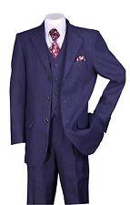 Men's 100% Cotton Denim 3 Button Suit With Pants &Vest Black Navy Style 5287
