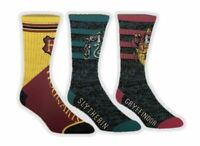 NEW 3 Harry Potter Athletic Crew Socks Adult Hogwarts Gryffindor Slytherin 10-13