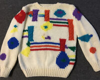 Vtg 80s Abstract Shapes Hand Knit Sweater M Art Colorblock Vaporwave 90s Picasso