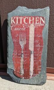 """Red kitchen plaque, """"Kitchen"""" on slate,  4 1/2"""" x 8 5/8"""" ready to hang"""