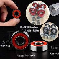12PCS Sport Outdoor Skateboard Longboard Bearings Kit 608RS ABEC-9  & Spacers