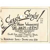 PETE SEEGER Concert Ticket Stub GARDEN CITY NY 1/24/70 ADELPHI UNIVERSITY Rare