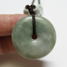 Certified Natural Grade (A) Untreated Light Green Jadeite JADE Circle Pendant