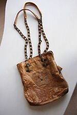 Sherry Nikka Leather Purse Handbag Bag Couture Beige Tan Chain Link Metal Strap