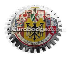 1 - NEW Chrome Grill Badge Germany German Cities Flag BUNDESREPUBLIK MEDALLION