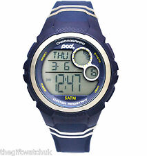 Pod Mens Blue Digital Sports Watch 5ATM W/R, Alarm, Light, Chronograph, Silicone