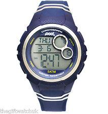 Pod Mens Blue Digital Sports Watch 5ATM W/R, Alarm, Light, Chronograph, Silicone