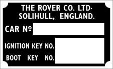Rover Series  P3 P4 P5 P6 rare repro boot ignition car key plate vin chassis id