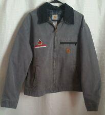 Carhartt Gray Plaid Blanket Lined Jacket Coat WESTERN PETROLEUM Logo Mens Sz XL