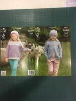 """King Cole Dk 4021 Girls Knitting Pattern 3-13 Yrs 24-32"""" Jacket Hat Top"""