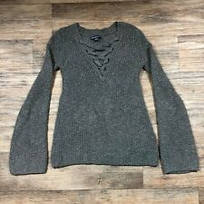 American Eagle Gray Sweater Lace Up Neck Sz. XS M20