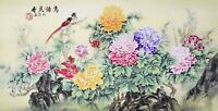 ORIGINAL ASIAN FINE ART CHINESE WATERCOLOR PAINTING-Birds lover&Peony flowers