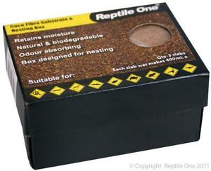 REPTILE ONE COCO FIBRE SUBSTRATE & NESTING BOX (3 SLABS - EACH MAKES 400ML)