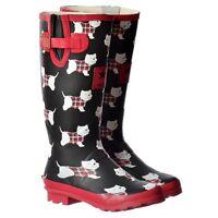 Mujeres Niñas plano Wellie Wellington Festival Botas de lluvia salchicha perros