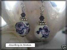 Earrings your choice Pierced or Clip on Blue & Plum Ceramic Blossom and Crystal