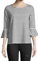 NWT Women's Neiman Marcus 3/4 Bell Sleeve Striped Tee Top Sz L Large