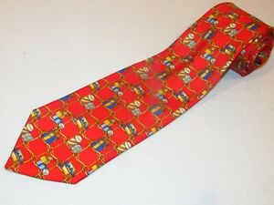 Burberry London Tie 100% Authentic Red Gold Chain Christmas Present Holiday Gift