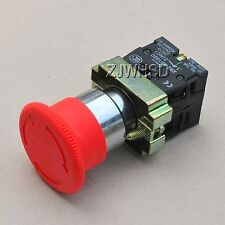 Heavy Duty 660V Red Sign Emergency Stop Push Button Switch NC + NO Contact Block