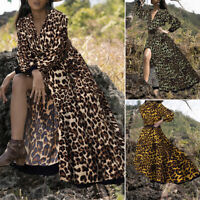 Womens V Neck Leopard Dress Long Maxi Dress Button Front Shirt Dresses Plus Size