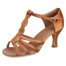 Las mujeres Zapatos de baile latino de baile de tango Salsa Taco Negro marron