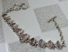 Solid Silver, 925 Nine Rose Quartz Bali Handcrafted Bracelet 35174