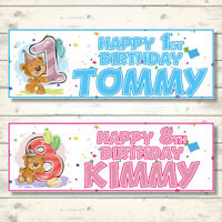 2 PERSONALISED HAPPY BIRTHDAY BEAR BANNERS - AGES 1 - 8 YEARS - BOY/GIRL