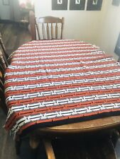 Vintage Crochet Diamond Black,Orange,White Afghan Throw Blanket 61� X 48�