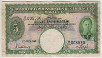 Malaya 5 Dollar 1941 P12 King George VI Currency Fine+ First Block Prefix A 59