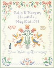 Pastels Silver Wedding Sampler - cross stitch kit on 14 aida with COLOUR chart
