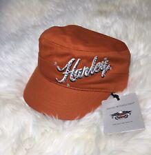 NWT Harley Davidson Hat HOOK Loop Strap One Size Orange Cap Hat Bling