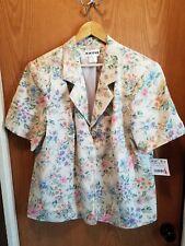Joan Leslie Womens Linen Blazer Jacket Floral Beige Size 22W 3X NWT NEW SS