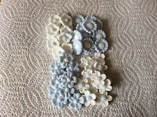 sugar paste 48 mixed pale blue white flower cake toppers birthday Anniversary