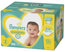 Pampers Swaddlers Diapers, Size 2, 186 Count