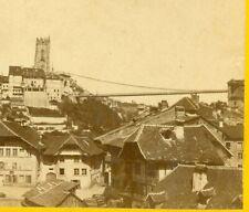 B4232~ 1860's Stereoview of Fribourg & Gottéron Bridge Switzerland by Jovin
