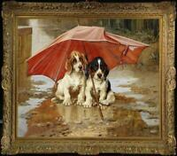 """Old Master-Art Antique Oil Painting animal Portrait dog on canvas 30""""x40"""""""