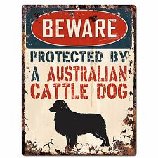 Pp2109 Beware Protected By A Australian Cattle Dog Plate Chic Sign Home Decor
