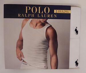 2 POLO RALPH LAUREN MENS 2XL 3XL 4XL COTTON WHITE TANK TOP T-SHIRTS UNDERSHIRTS