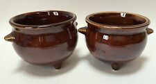 2 Vintage Brown Pottery Cauldron Footed Bowls Cups Two Sizes