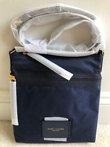 NEW! MARC JACOBS North South Biker Crossbody/Messenger Bag Peacoat Blue Nylon