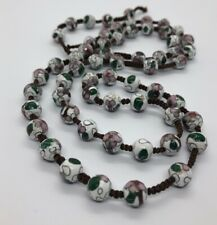 Vintage Necklace Cloisonne Enamel Beads White String Knotted 32""