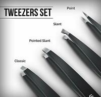 4 Piece Professional Stainless Steel Tweezers Set Utopia Care