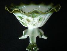 Blakeney Sadler White Wild Rose/White Xmas Rose? /Green 3 footed Planter/Vase