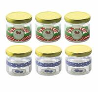 Glass Jam Jars Set 200ml With Gold Lids Airtight Storage Preserving Pack Of 6