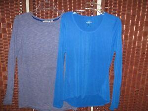 Athleta lot 2 long sleeve shirts S 4-6 womens blue tops fitness yoga run