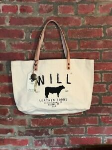 Will Leather Goods Canvas Tote Bag w/ Leather Straps